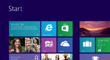 Windows 8 start screen showing tiles